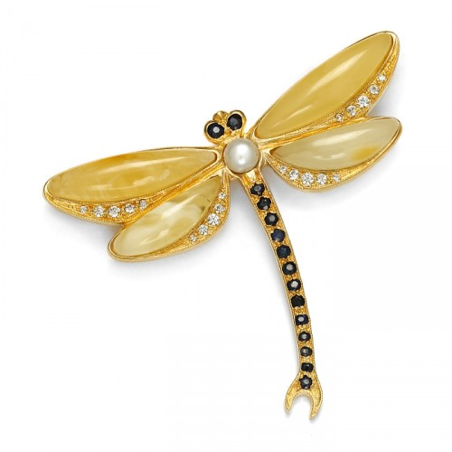 Dragonfly amber brooch