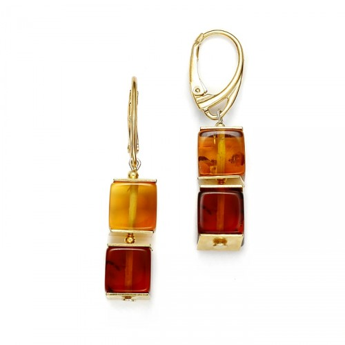 "Amber earrings ""Double cube"""