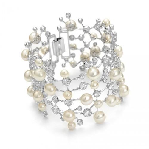 Kolekcja Princessa szeroka bransoletka z perłami