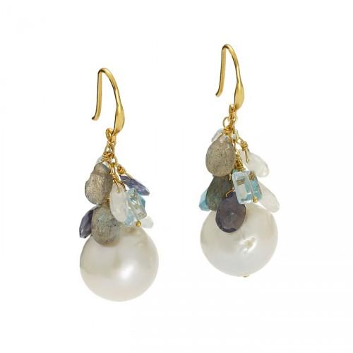 Wiszące kolczyki z dużymi perłami