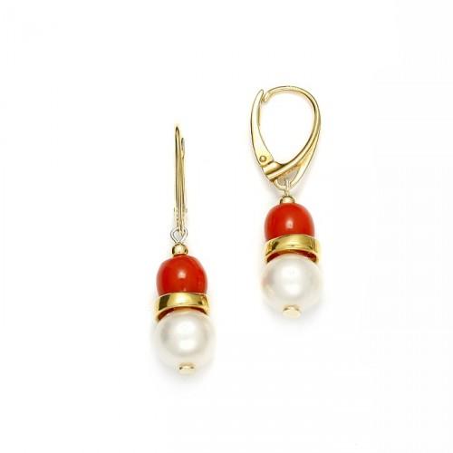 Srebrne kolczyki z perłami i koralem naturalnym