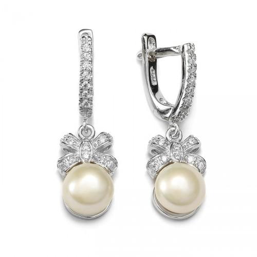 Srebrne kolczyki z perłami i cyrkoniami