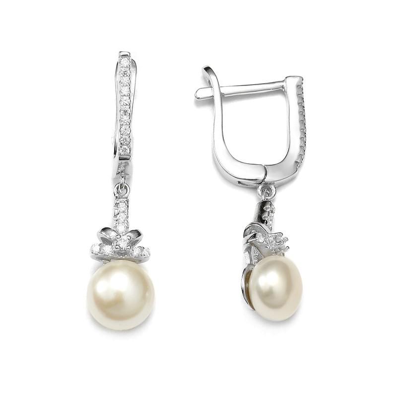 Srebrne długie kolczyki z perłami i cyrkoniami