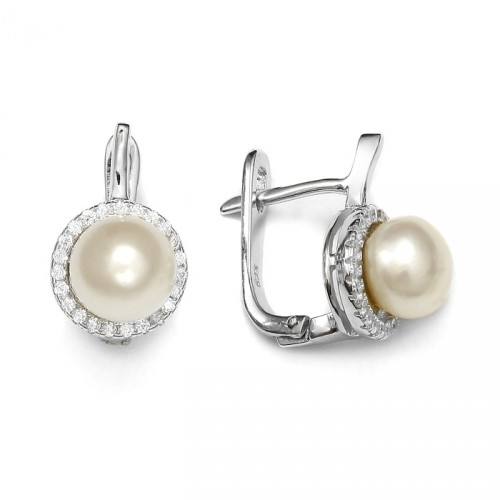 Silver earrings with freshwater pearl and zircons