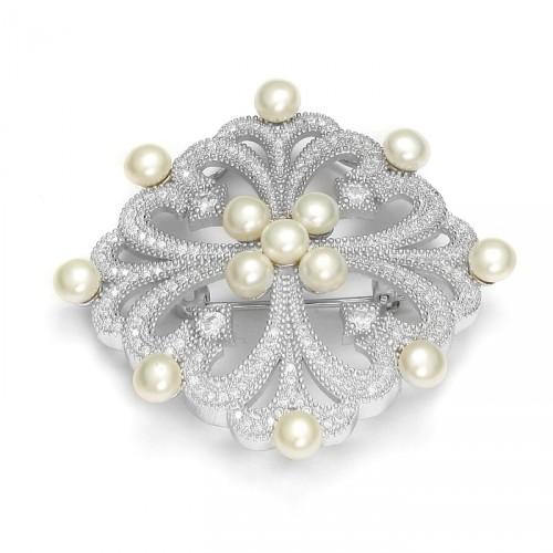 Srebrna broszka z perłami