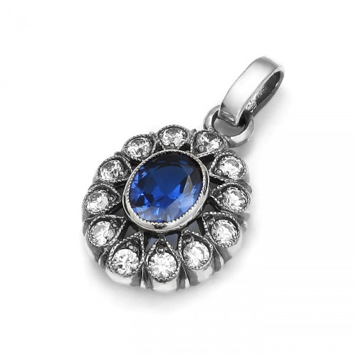 Art Deco pendant with blue spinel