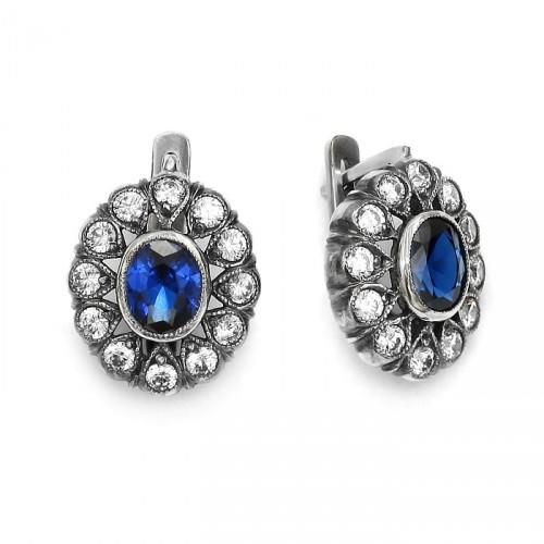 Kolczyki w stylu Art Deco z niebieskim spinelem