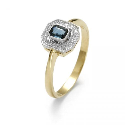 Złoty pierścionek z brylantami i szafirem naturalnym