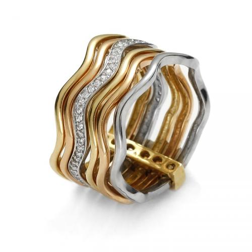 Pierścionek złota fala