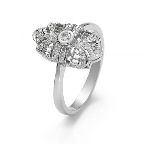 White gold ring with cut diamonds