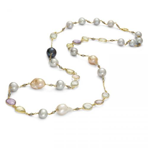 Naszyjnik z kamieniami naturalnymi i perłami