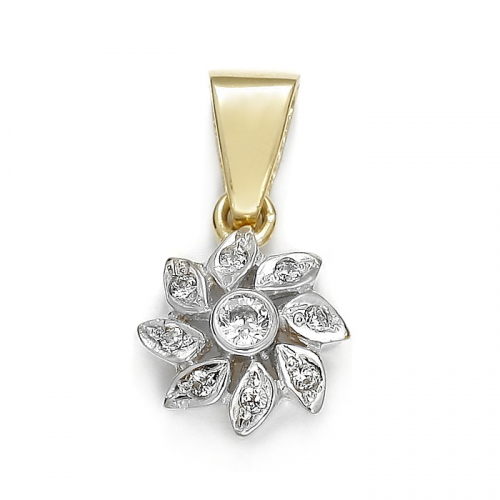"""Gold pendant """"Fower"""" with zircons"""