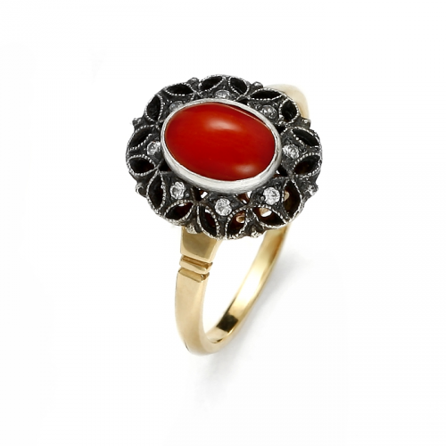 Gold ring with natural coral and zircons