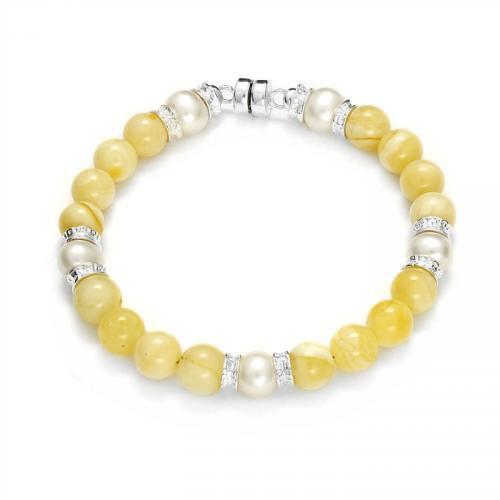 Bransoletka z bursztynem i perłami