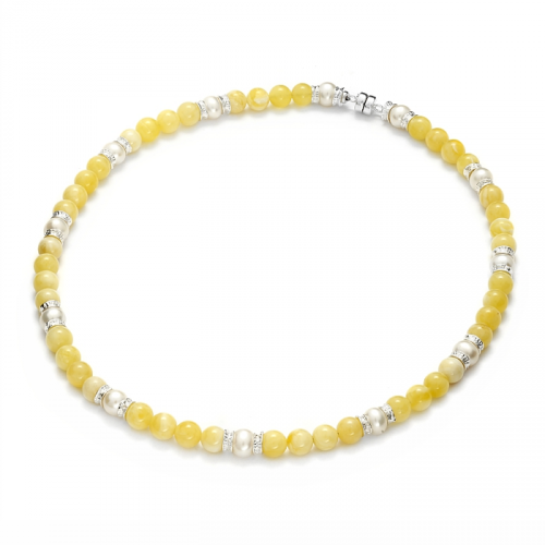 Naszyjnik z bursztynem i perłami
