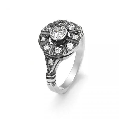 Pierścionek srebrny Art Deco