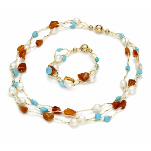 Necklace and bracalet with natural stones