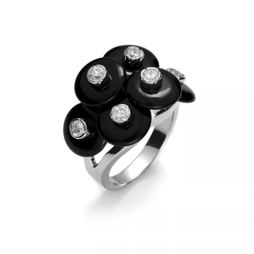 Srebrny pierścionek z onyksami