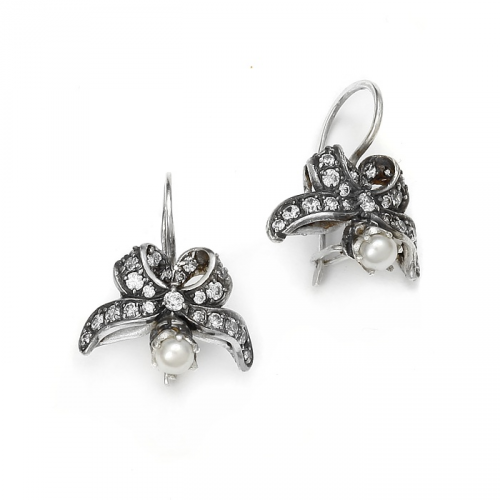 "Silver earrings ""Bows"""