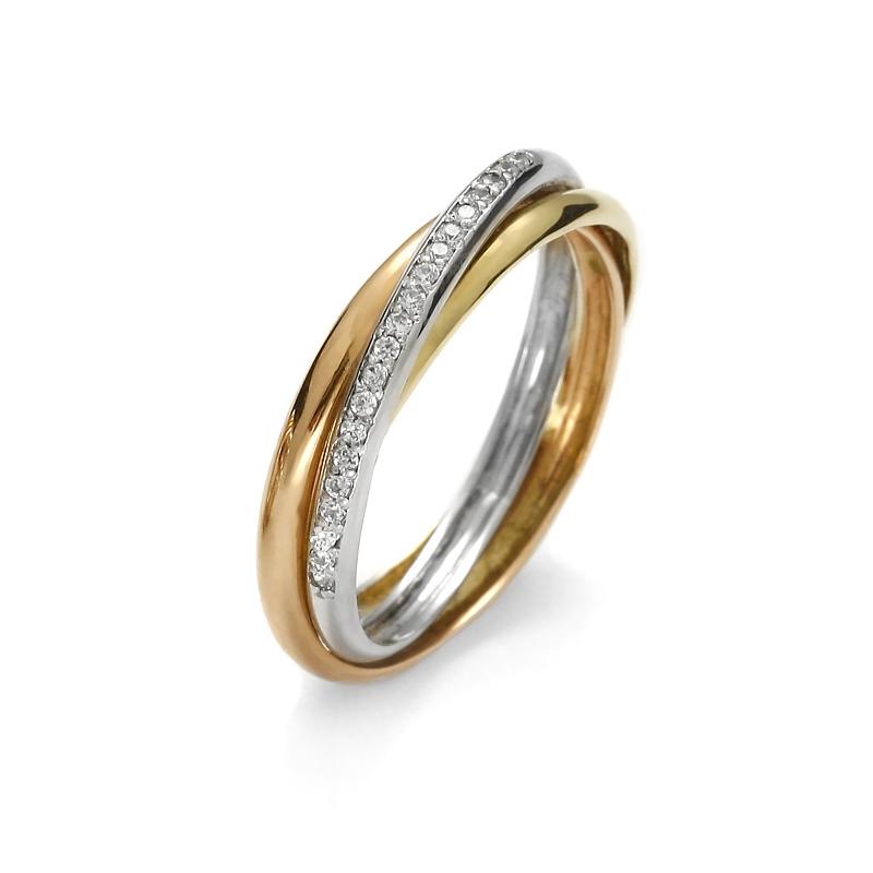 Złoty pierścionek trójkolorowy