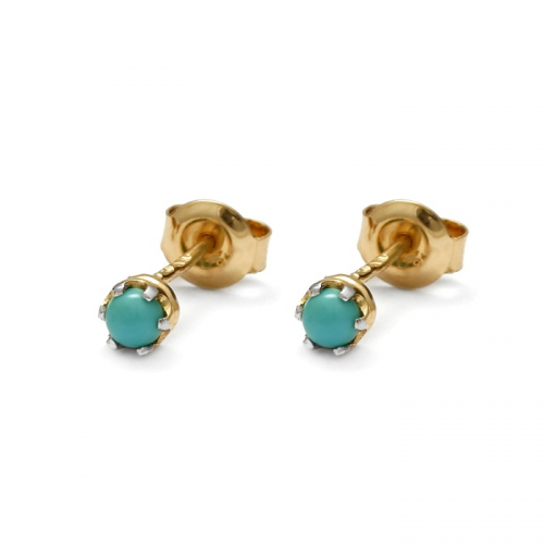 Gold earrings with natural turquoise