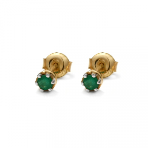 Gold earrings with natural emerald