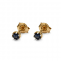 Gold earrings with natural sapphire