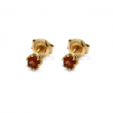 Gold earrings with natural garnet
