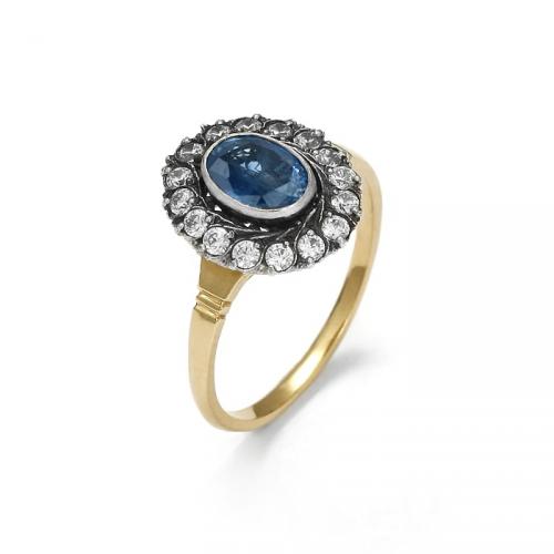 Złoty pierścionek z niebiańskim szafirem