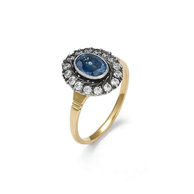 Złoty pierścionek z szafirem i cyrkoniami