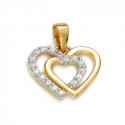 Podwójna złota zawieszka z sercami