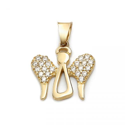 Złoty anioł z cyrkoniami na skrzydłach