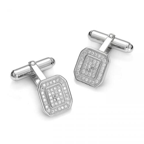 Silver cufflinks with zircons