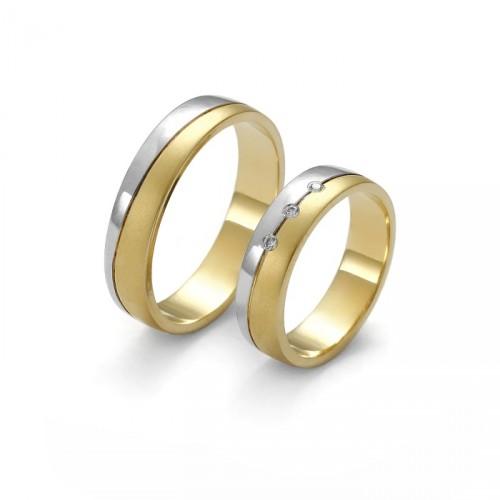 Dwukolorowa złota obrączka z brylantami