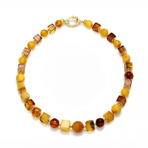 "Amber necklace ""Balls&Cubes"""