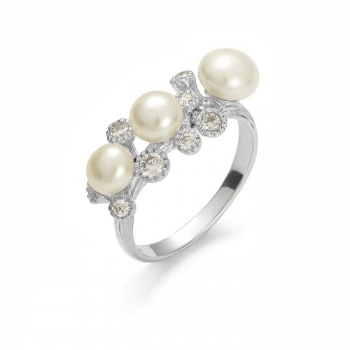 """Silver ring with pearl """"Princess Collection"""""""