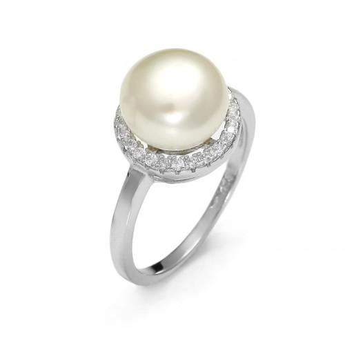 Okrągły pierścionek z perłą i cyrkoniami