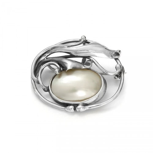 Silver brooch-pendant with nacre, small