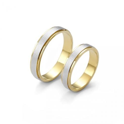 Obrączka dwukolorowa z białego i żółtego złota