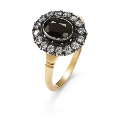 Złoty pierścionek Art Deco z szafirem