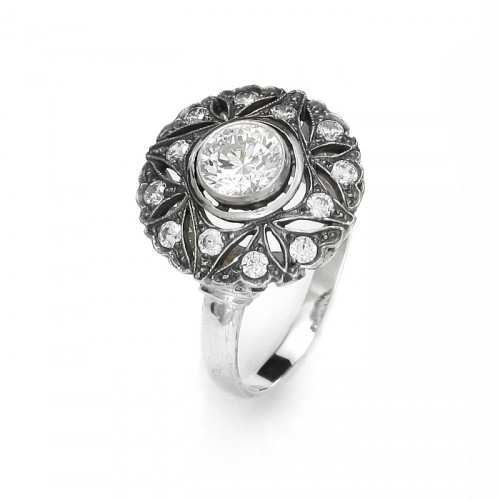 """Sophia"" ring with zircons"