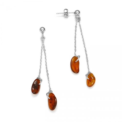 Long earrings with natural amber