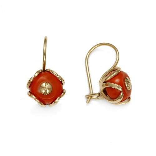 Gold earrings with coral small version