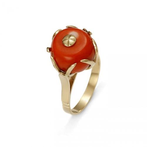Złoty pierścionek z koralem naturalnym duży