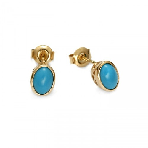 Earrings with natural turquoise
