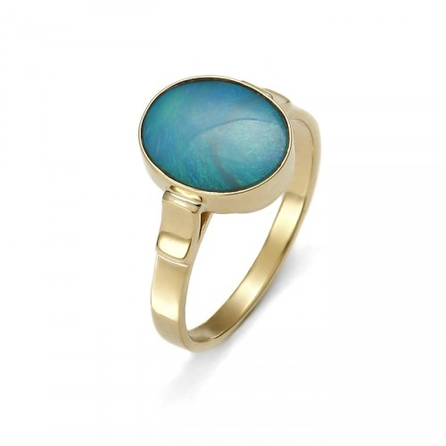 Gold ring with natural opal
