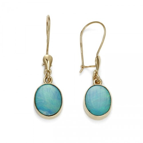 Gold earrings with australian opal