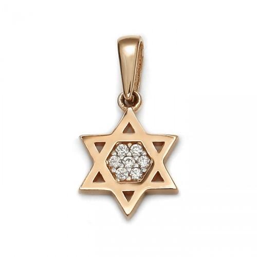Zawieszka gwiazda Dawida w kolorze różowego złota