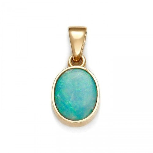 Gold pendant with natural opal