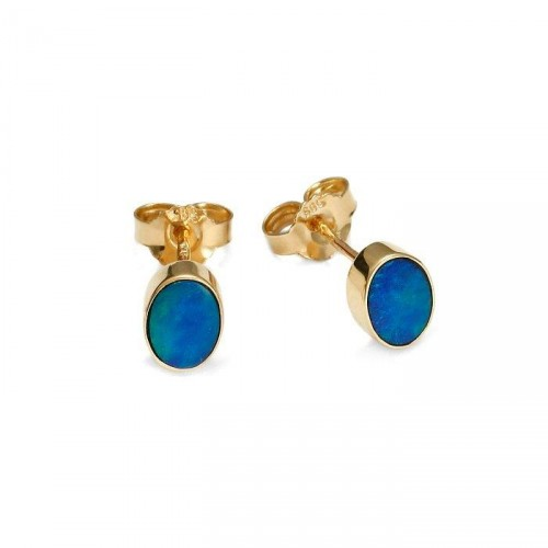 Gold earrings with natural opal